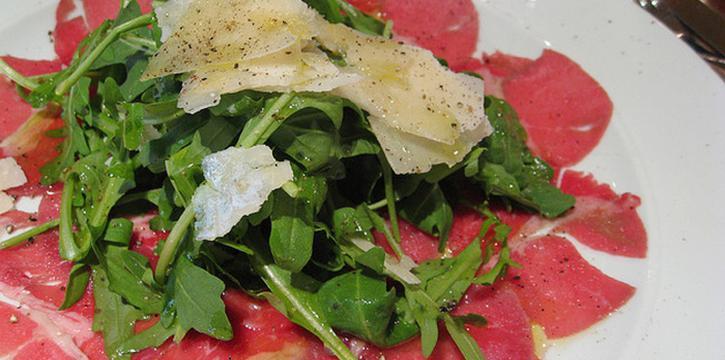 Beef Carpaccio from Salute Italian Restaurant in Patong, Phuket, Thailand.