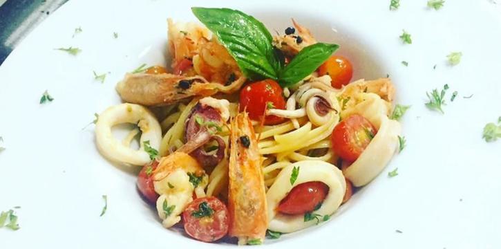 Spaghetti-with-Seafood from Casanova in Patong, Phuket, Thailand.