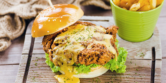 Cheesy Chicken Burger from GRUB in Ang Mo Kio, Singapore