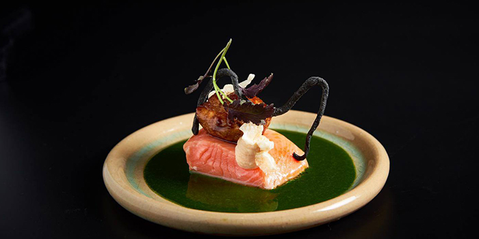 Sea Trout with Sweet Bread from Lerouy in Tanjong Pagar, Singapore