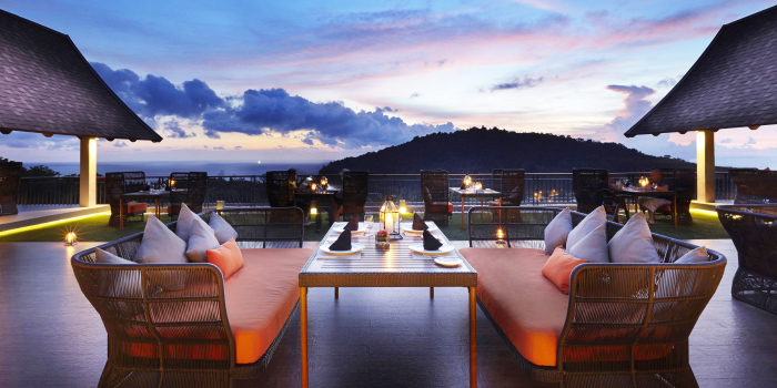 Restaurant-Ambiance of Sizzle Rooftop Restaurant in Tritrang, Patong, Phuket, Thailand.