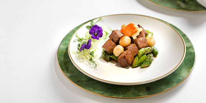 Sauteed diced beef with fresh asparagus and macadamia nuts, Golden Leaf, Admiralty, Hong Kong