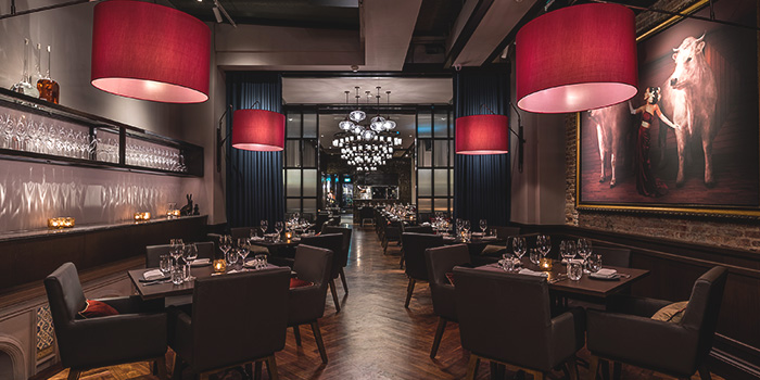 Interior of Bistecca Tuscan Steakhouse in Robertson Quay, Singapore