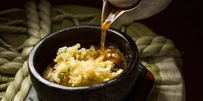 Stone bowl baked porridge Japanese ice fish tempura, Tenmasa, Flores, Macau