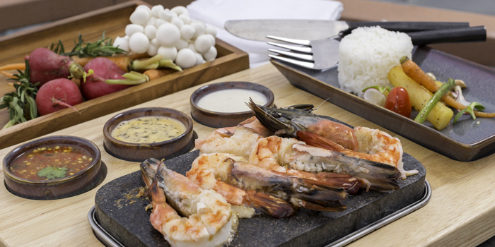 Hot Stone Home Cooking Tiger Prawn from Twilight Sky at The SIS Kata, Phuket, Thailand