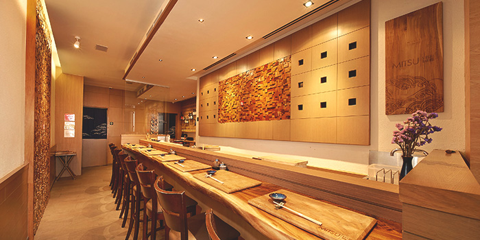 Interior of Mitsu Sushi Bar in Duxton, Singapore