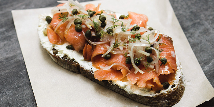 Smoked Salmon & Cream Toast from Pickleville in Raffles Place, Singapore