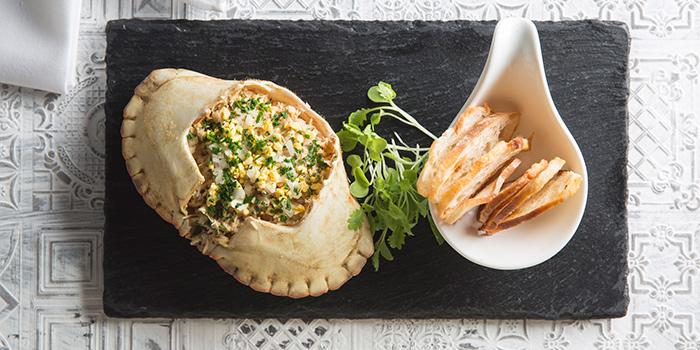 Sapateira Portuguese brown crab marinated and stuffed, Casa Lisboa Gastronomia Portuguesa, Central, Hong Kong