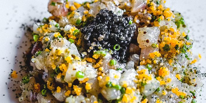 Shima Aji Tartare Caviar Egg from Kimme in Chinatown, Singapore