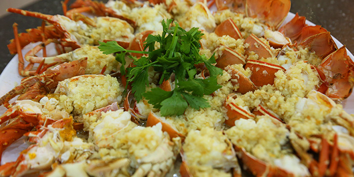Garlic Steamed Lobster from Tekong Seafood Restaurant at Changi Village in Changi, Singapore