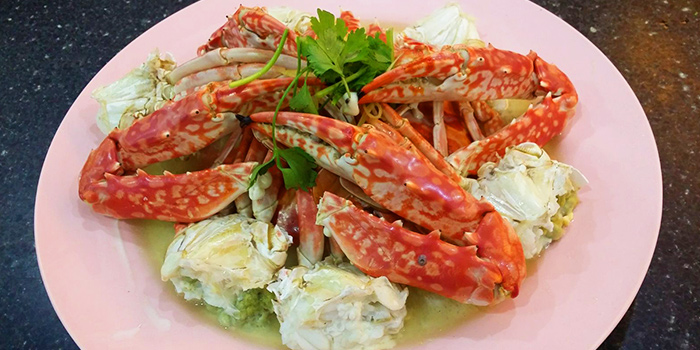 Steamed Flower Crab from Tekong Seafood Restaurant at Changi Village in Changi, Singapore