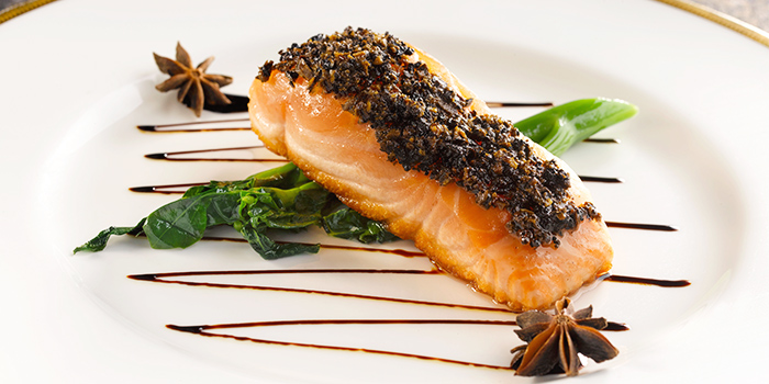 Baked Salmon with Black Truffle in Teriyaki Sauce from Yan Ting at The St. Regis Singapore in Tanglin, Singapore