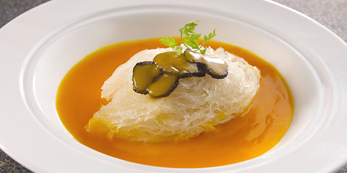 Braised Superior Bird Nest with Black Truffle in Pumpkin Sauce from Yan Ting at The St. Regis Singapore in Tanglin, Singapore