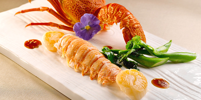 Pan-fried Lobster and Scallops in Teriyaki Sauce from Yan Ting at The St. Regis Singapore in Tanglin, Singapore