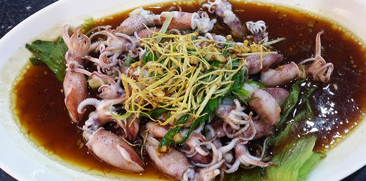 Steamed Baby Squid from Tekong Seafood Restaurant at Changi Village in Changi, Singapore