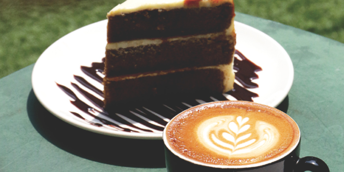 Coffee and Cake from Tanuki Raw at the National Design Centre in Bugis, Singapore