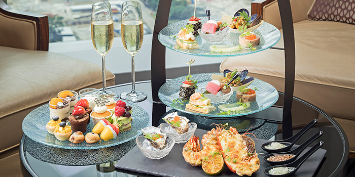 Seafood Afternoon Tea Spread from Lobby Lounge at The Westin Singapore in Marina Bay, Singapore