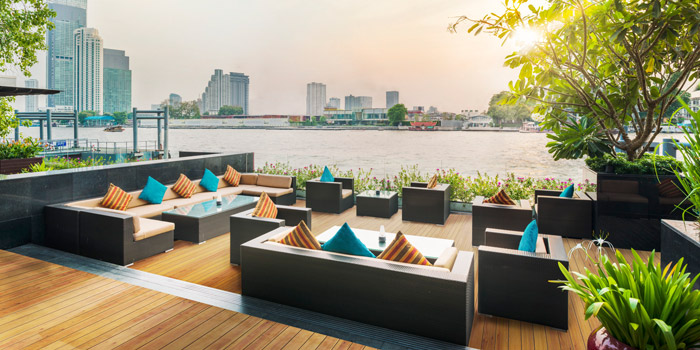 Outdoor Riverside View of Riverside Grill at Royal Orchid Sheraton Hotel & Towers, Bangkok