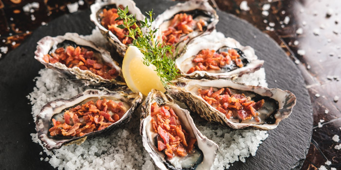 Oysters with Crispy Bacon from Riverside Grill at Royal Orchid Sheraton Hotel & Towers, Bangkok