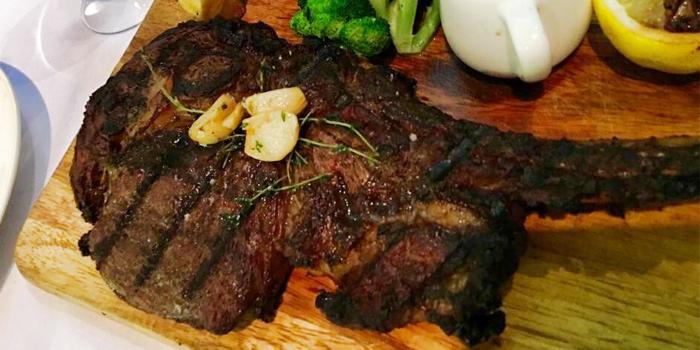 Pork Chop with Mushroom Sauce from La Cantina Steakhouse in Rawai, Phuket, Thailand.