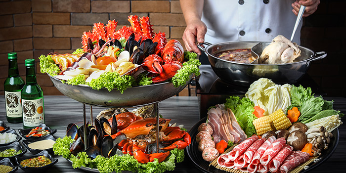 Steamboat Spread from Captain K Seafood Tower at Midland House in Bugis, Singapore