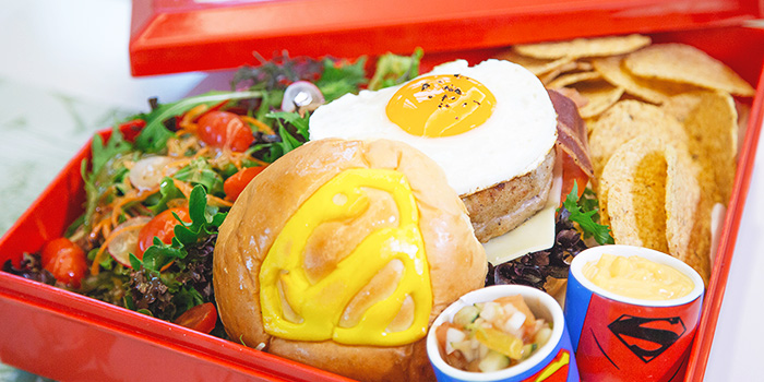 Superman: A Smallville Original Free Range Chicken Burger from DC Super Heroes Cafe (Takashimaya) in Orchard, Singapore