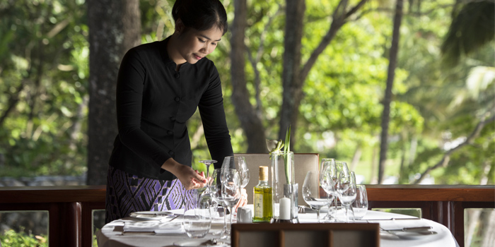 Table Setting of Arva in Cherngtalay, Phuket, Thailand.