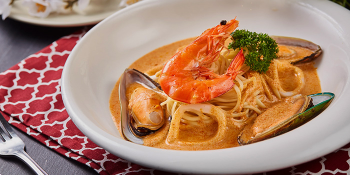 Tomyum Seafood Pasta from Citrus Bistro at Sengkang Sports Centre in Sengkang, Singapore