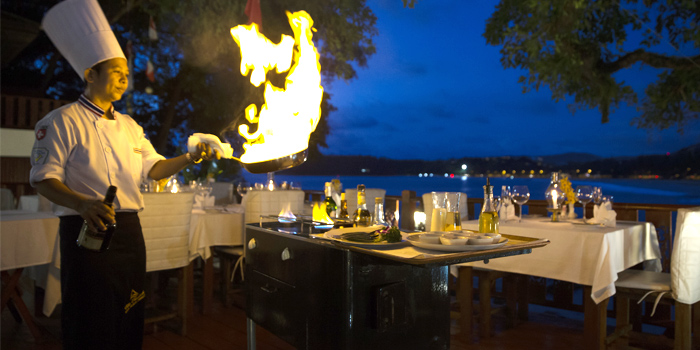 Art of fire by the Chef of Bella Vista Oceanfront Terrace Restaurant in Karon, Phuket, Thailand