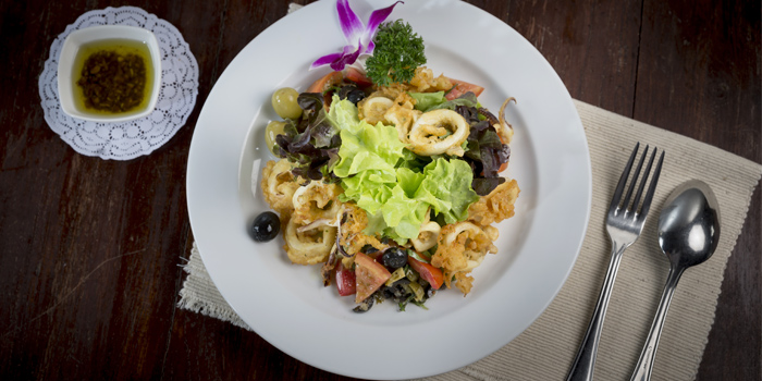 Calamari Green Salad from Bella Vista Oceanfront Terrace Restaurant in Karon, Phuket, Thailand