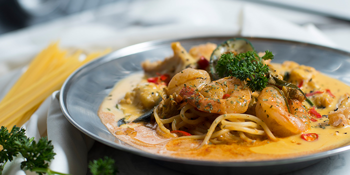 Tom Yam Salted Egg Pasta with Chicken Cutlet from 49 Seats at The Centrepoint in Orchard, Singapore