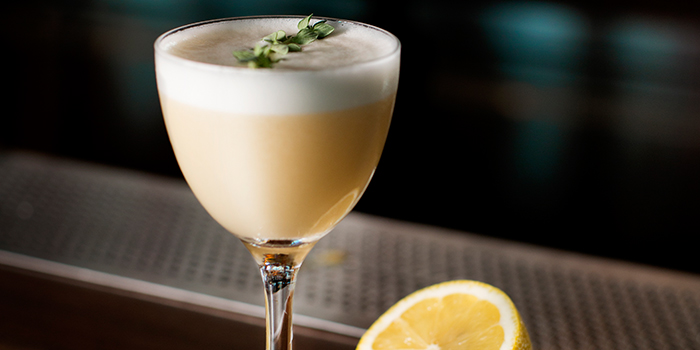 Yuzu Whiskey Sour from Caffe Fernet at Customs House in Marina Bay, Singapore