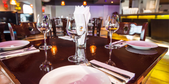 Table Setting of Squires Loft Steakhouse Patong in Patong, Phuket, Thailand.