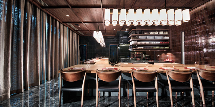 Interior of Takayama Japanese Restaurant in OUE Downtown Gallery in Tanjong Pagar, Singapore