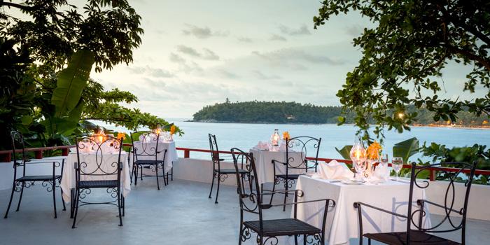 Terrace Dining area of Bella Vista Oceanfront Terrace Restaurant in Karon, Phuket, Thailand