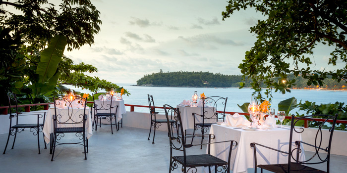 Terrace Dining area of Bella Vista Oceanfront Terrace Restaurant in Karon, Phuket, Thailand