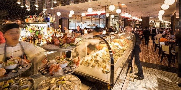Interior of db Bistro & Oyster Bar in The Shoppes at Marina Bay Sands, Singapore