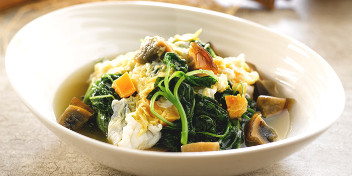 Seasonal Vegetable with Assorted Egg in Superior Broth from Crystal Jade Hong Kong Kitchen (Tampines Mall) at Tampines Mall in Tampines, Singapore