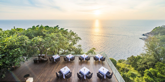 Landscape-View-of-Outdoor-Seating of Paresa Dining in Kamala, Phuket, Thailand.