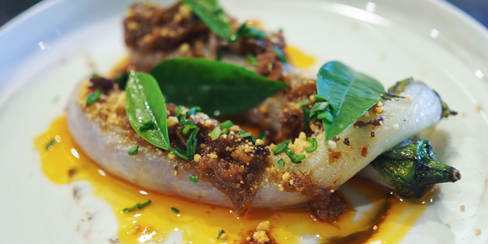 Aubergine in XO Sauce with Bone Marrow from Open Farm Community in Dempsey, Singapore