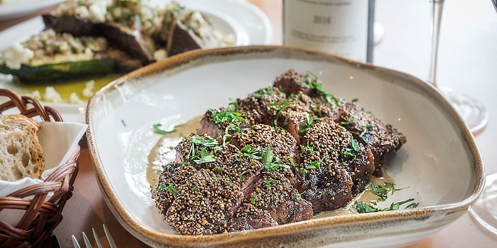 """Angus Beef Ribeye, """"Pepper Crust"""", Brandy Sauce from atout in Dempsey, Singapore"""