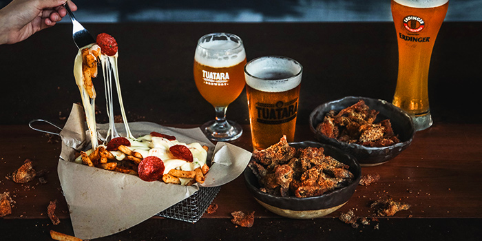 Pizza Fries, Southern Fried Chicken Skins & Beers from Alter Ego at Esplanade Mall in City Hall, Singapore