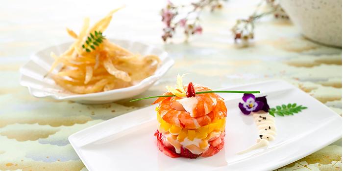 Fresh Prawn Salad & Deep Fried Hong Kong Silver Fish from Li Bai Cantonese Restaurant at Sheraton Towers in Newton, Singapore