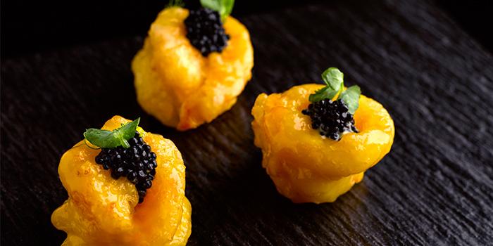 Deep-fried Mango Passionfruit Prawns, Avruga Caviar from Man Fu Yuan in InterContinental Singapore in Bugis, Singapore
