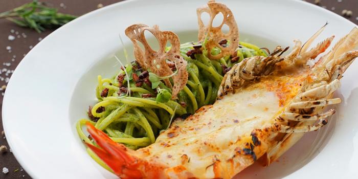 Spaghetti Pesto with Giant Prawn from Ceilo Sky Bar & Restaurant at W District Sukhumvit 69-71, Sukhumvit Rd Phra Khanong Nua Wattana, Bangkok