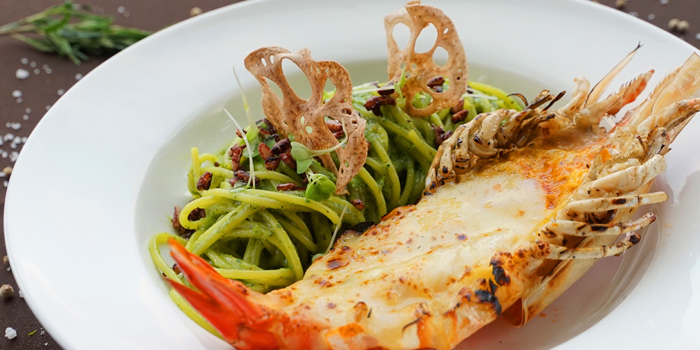 Spaghetti Pesto with Giant Prawn from Ceilo Sky Bar & Restaurant at W District Sukhumvit 69-71, Sukhumvit Rd Phra Khanong Nua Wattana, Bangkok