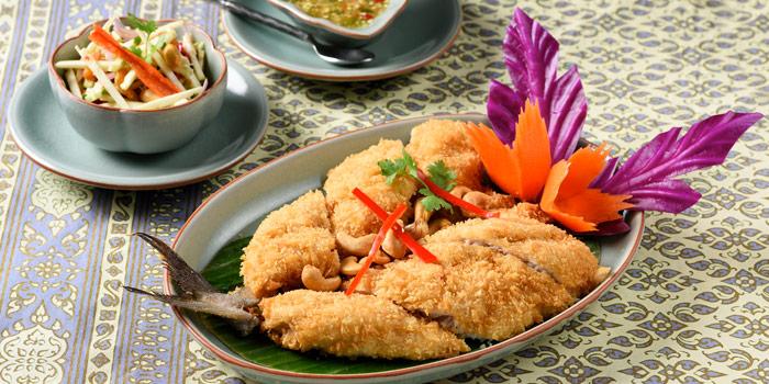 Deep Fried Sea Bass from Baan Kanitha & Gallery at South Sathorn Road Thung Maha Mek, Sathorn Bangkok