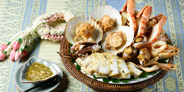 Grilled Seafood Platter from Baan Kanitha & Gallery at South Sathorn Road Thung Maha Mek, Sathorn Bangkok