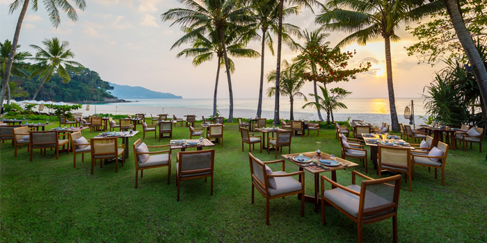 Dining on the beach of Beach Restaurant in Cherngtalay, Thalang, Phuket, Thailand