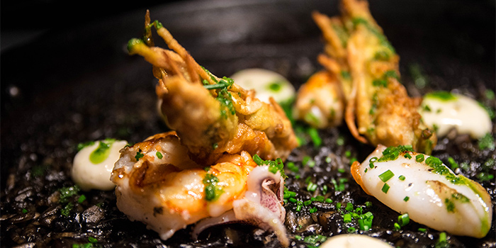 Squid ink Paella from FOC Restaurant on Hong Kong Street in Boat Quay, Singapore